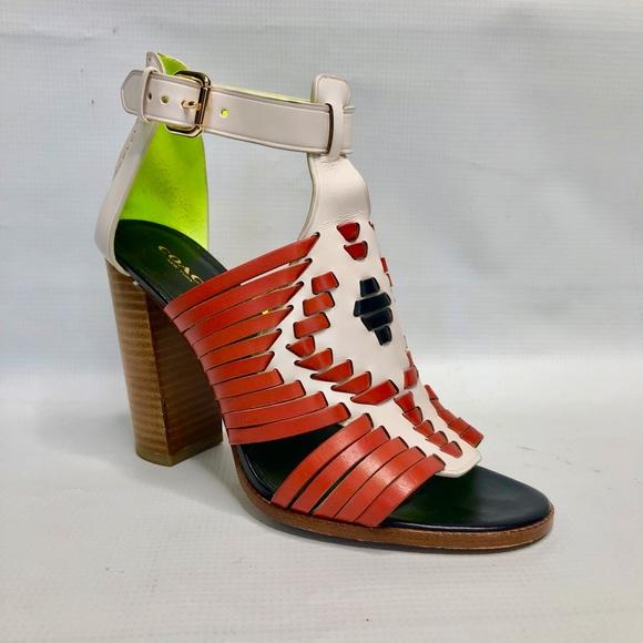 Coach Shoes - Coach Lorrie Huarache Leather Heeled Sandal